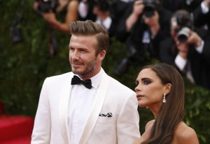 """David and Victoria Beckham arrive at the Metropolitan Museum of Art Costume Institute Gala Benefit celebrating the opening of """"Charles James: Beyond Fashion"""" in New York"""