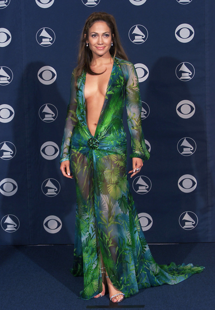 Jennifer Lopez in Versace at the 42nd Grammy Awards held in Los Angeles, CA on February 23, 2000  Photo by Scott Gries/ImageDirect