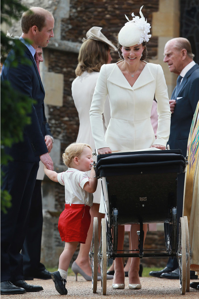 KING'S LYNN, ENGLAND - JULY 05:  Catherine, Duchess of Cambridge, Prince William, Duke of Cambridge, Princess Charlotte of Cambridge and Prince George of Cambridge leave the Church of St Mary Magdalene on the Sandringham Estate after the Christening of Princess Charlotte of Cambridge on July 5, 2015 in King's Lynn, England.  (Photo by Chris Jackson - WPA Pool/Getty Images)