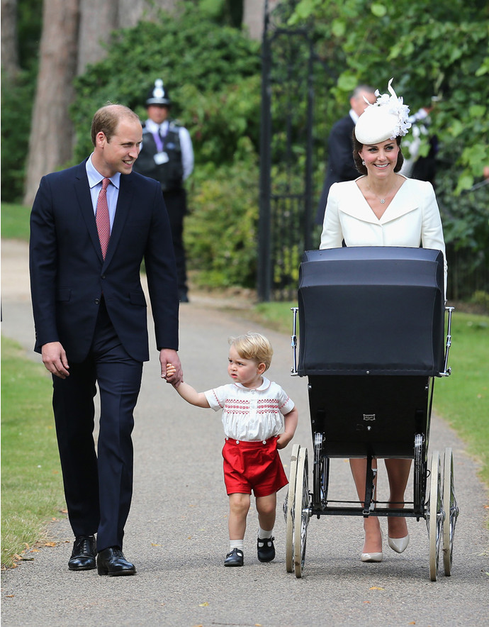 KING'S LYNN, ENGLAND - JULY 05:  Catherine, Duchess of Cambridge, Prince William, Duke of Cambridge, Princess Charlotte of Cambridge and Prince George of Cambridge arrive at the Church of St Mary Magdalene on the Sandringham Estate for the Christening of Princess Charlotte of Cambridge on July 5, 2015 in King's Lynn, England.  (Photo by Chris Jackson - WPA Pool/Getty Images)